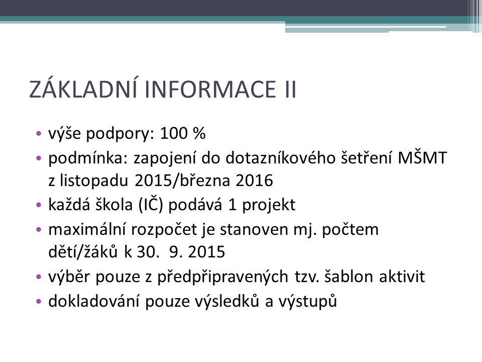 FINANČNÍ NASTAVENÍ min.rozpočet: 200 000 Kč max.