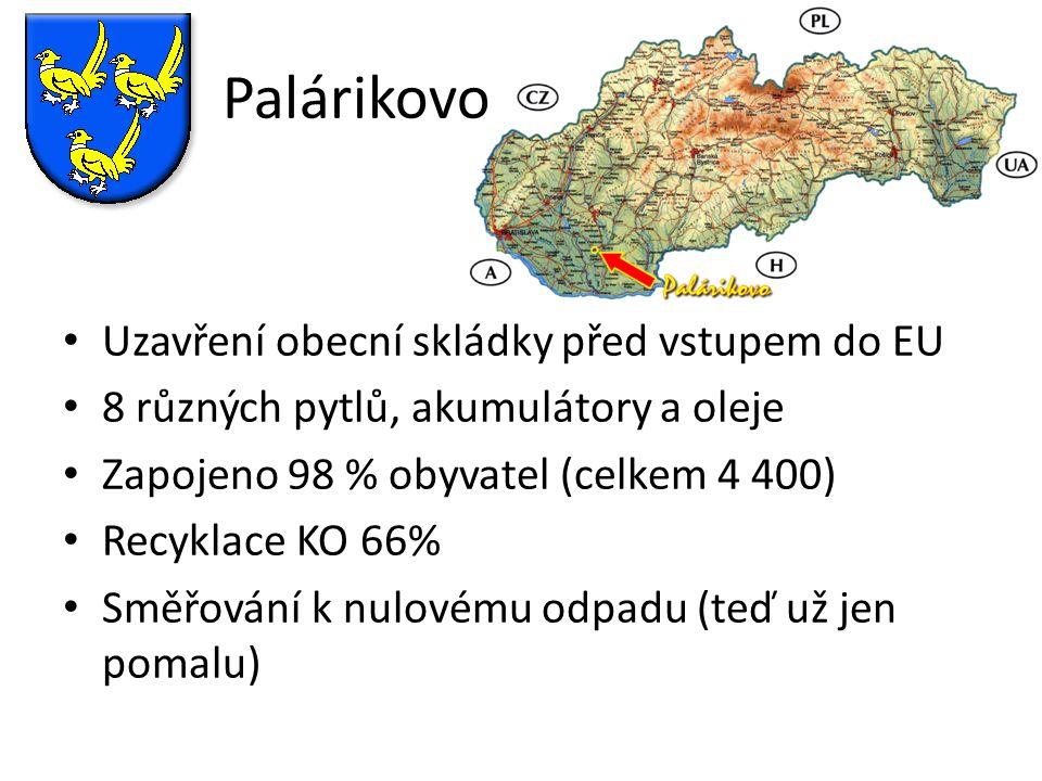 Palárikovo Uzavření obecní skládky před vstupem do EU 8 různých pytlů, akumulátory a oleje Zapojeno 98 % obyvatel (celkem 4 400) Recyklace KO 66% Směř
