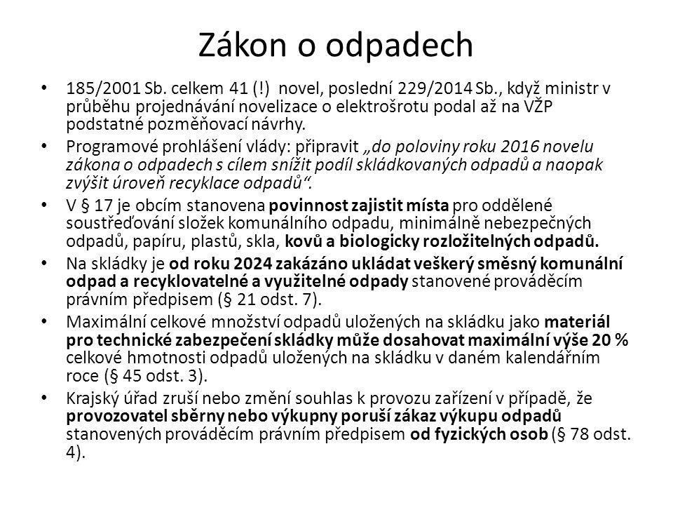 Zákon o odpadech 185/2001 Sb. celkem 41 (!) novel, poslední 229/2014 Sb., když ministr v průběhu projednávání novelizace o elektrošrotu podal až na VŽ