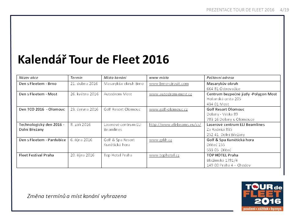 Kalendář Tour de Fleet 2016 Změna termínů a míst konání vyhrazena PREZENTACE TOUR DE FLEET 2016 4/19
