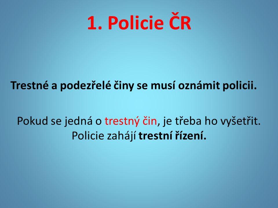 1. Policie ČR Trestné a podezřelé činy se musí oznámit policii.
