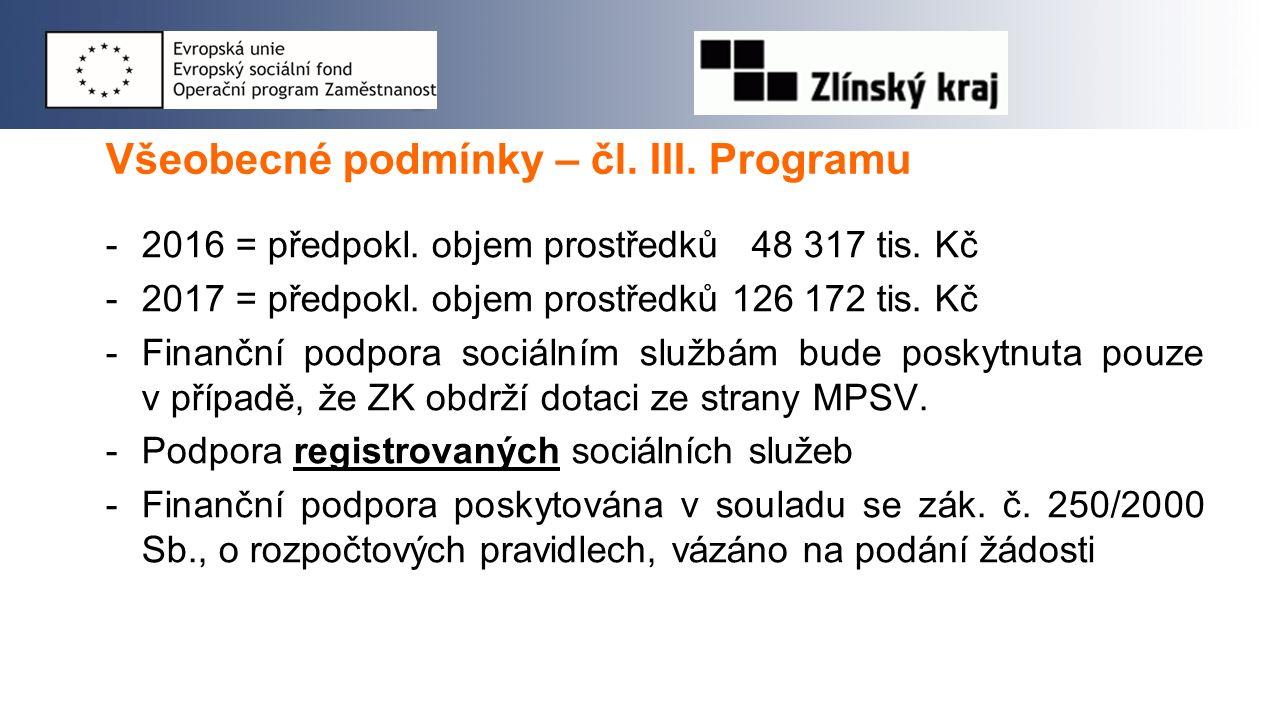 Všeobecné podmínky – čl. III. Programu -2016 = předpokl.