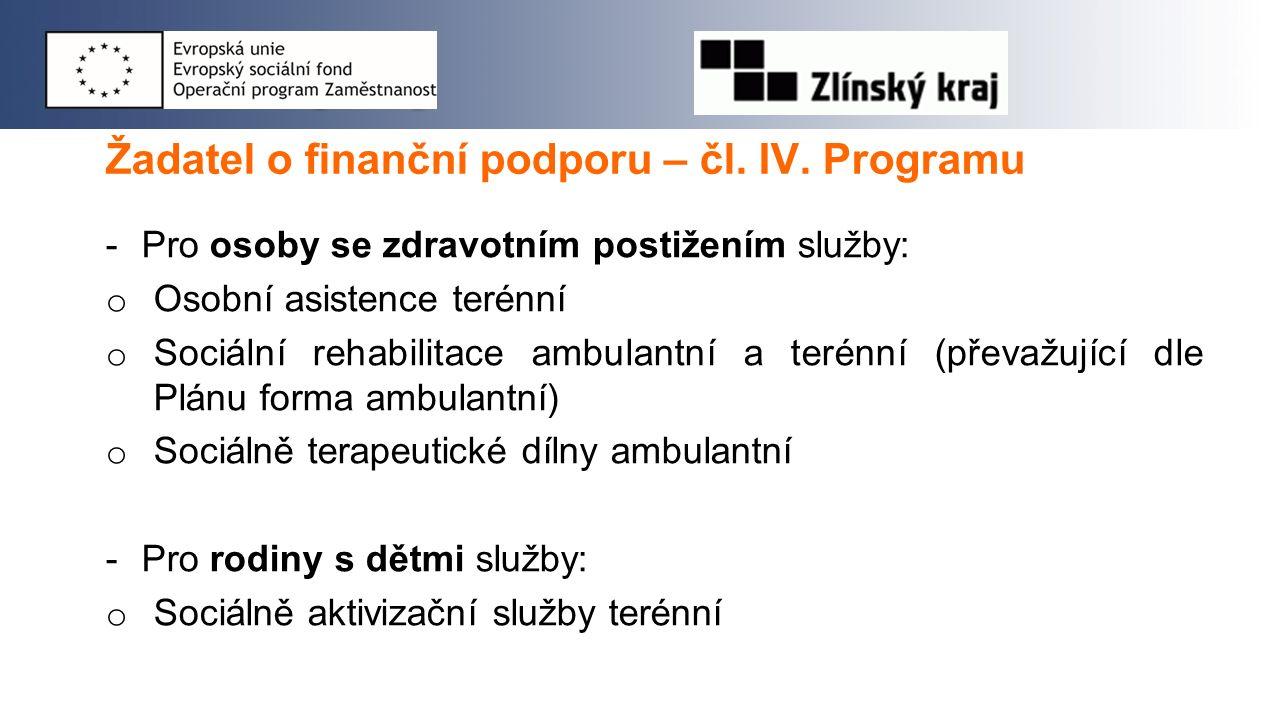 Žadatel o finanční podporu – čl. IV. Programu -Pro osoby se zdravotním postižením služby: o Osobní asistence terénní o Sociální rehabilitace ambulantn