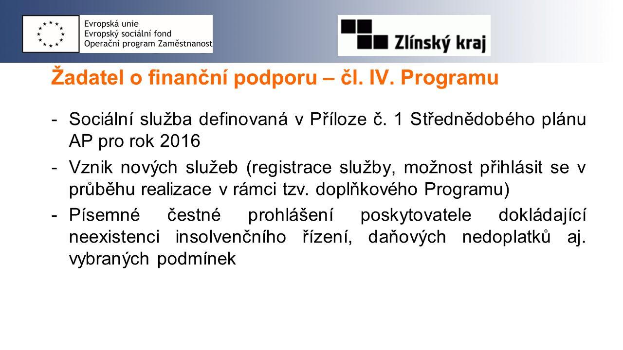 Žadatel o finanční podporu – čl. IV. Programu -Sociální služba definovaná v Příloze č. 1 Střednědobého plánu AP pro rok 2016 -Vznik nových služeb (reg
