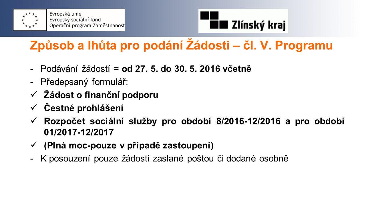 Způsob a lhůta pro podání Žádosti – čl. V. Programu -Podávání žádostí = od 27.