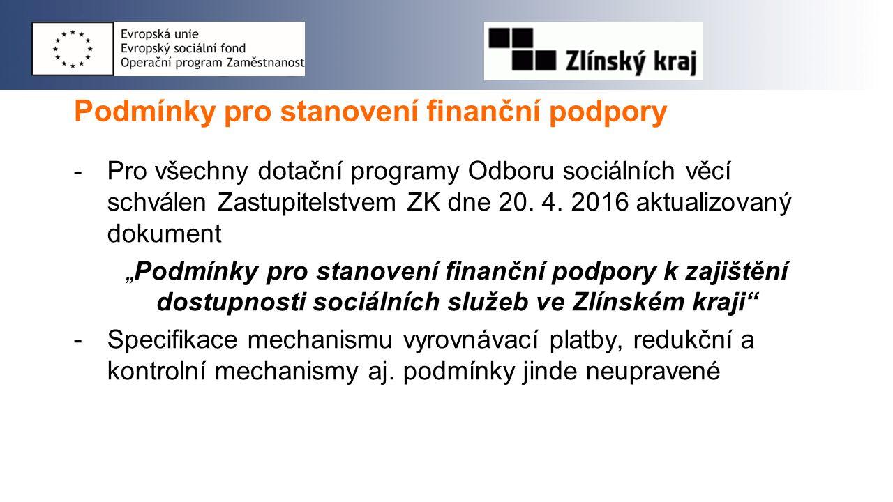 Podmínky pro stanovení finanční podpory -Pro všechny dotační programy Odboru sociálních věcí schválen Zastupitelstvem ZK dne 20. 4. 2016 aktualizovaný