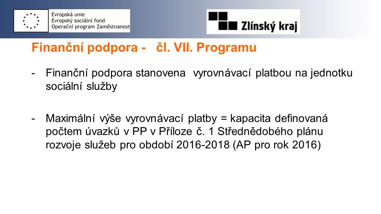 Finanční podpora - čl. VII. Programu -Finanční podpora stanovena vyrovnávací platbou na jednotku sociální služby -Maximální výše vyrovnávací platby =