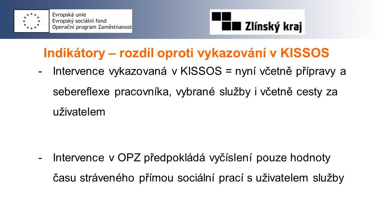Indikátory – rozdíl oproti vykazování v KISSOS -Intervence vykazovaná v KISSOS = nyní včetně přípravy a sebereflexe pracovníka, vybrané služby i včetn