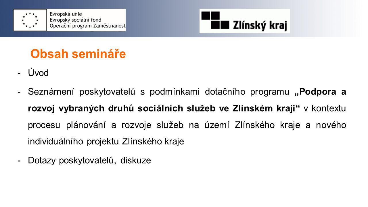 """Obsah semináře -Úvod -Seznámení poskytovatelů s podmínkami dotačního programu """"Podpora a rozvoj vybraných druhů sociálních služeb ve Zlínském kraji"""" v"""