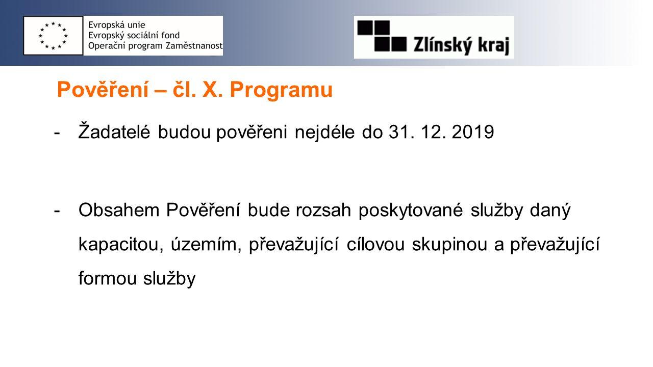Pověření – čl. X. Programu -Žadatelé budou pověřeni nejdéle do 31. 12. 2019 -Obsahem Pověření bude rozsah poskytované služby daný kapacitou, územím, p