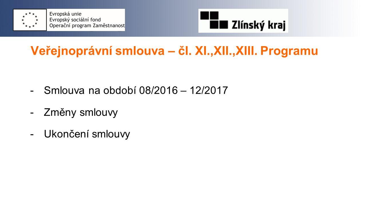 Veřejnoprávní smlouva – čl. XI.,XII.,XIII. Programu -Smlouva na období 08/2016 – 12/2017 -Změny smlouvy -Ukončení smlouvy