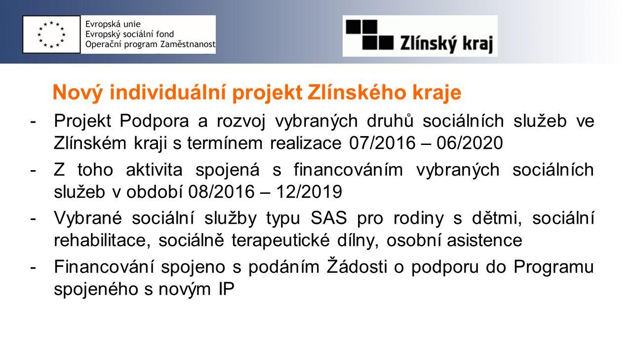 Nový individuální projekt Zlínského kraje -Projekt Podpora a rozvoj vybraných druhů sociálních služeb ve Zlínském kraji s termínem realizace 07/2016 –