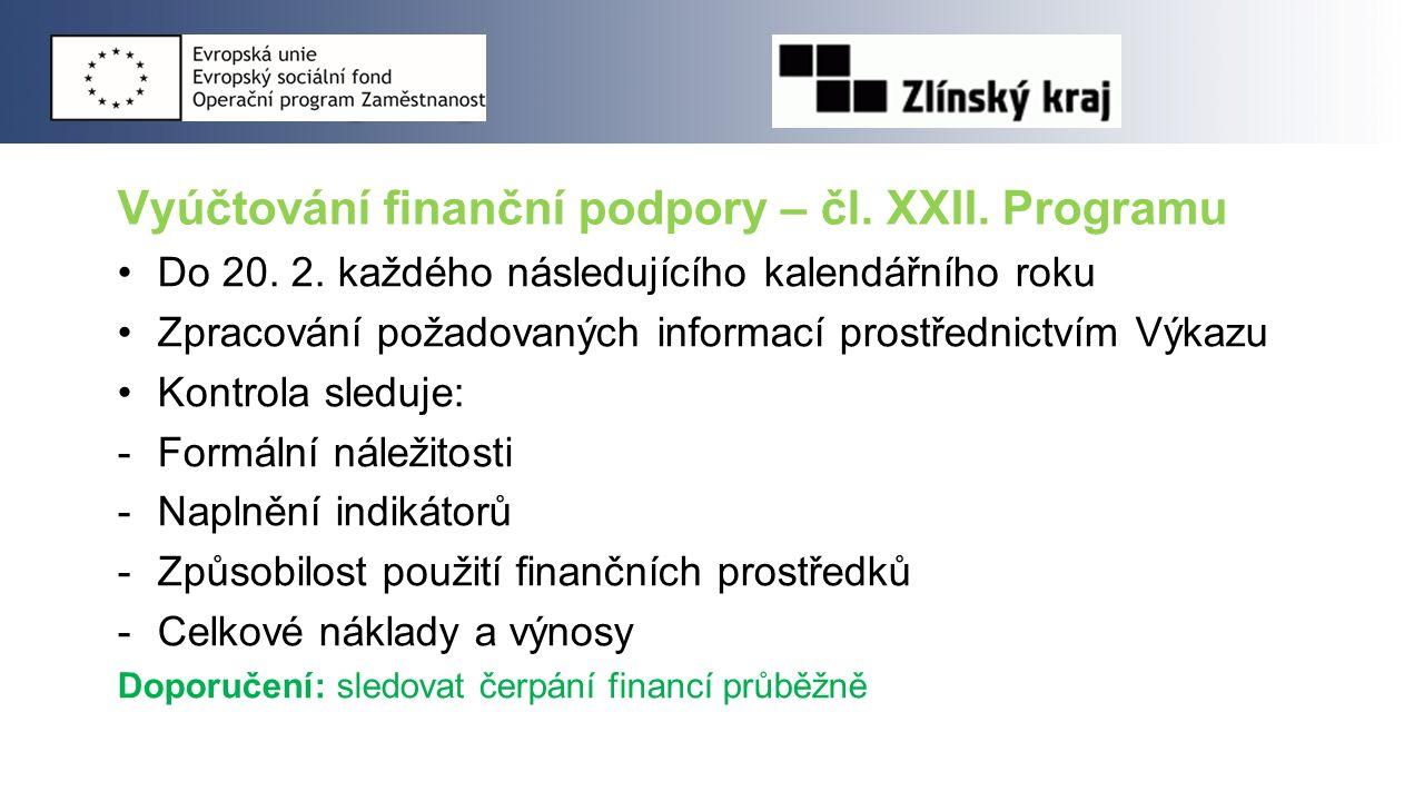 Vyúčtování finanční podpory – čl. XXII. Programu Do 20. 2. každého následujícího kalendářního roku Zpracování požadovaných informací prostřednictvím V