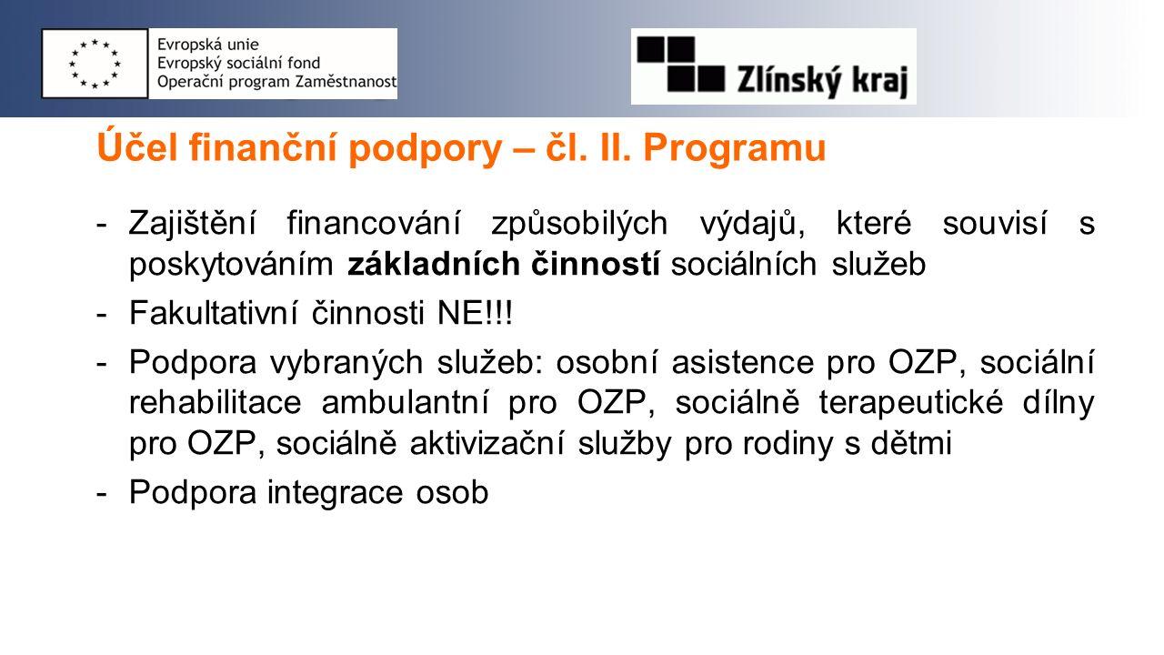 Účel finanční podpory – čl. II. Programu -Zajištění financování způsobilých výdajů, které souvisí s poskytováním základních činností sociálních služeb