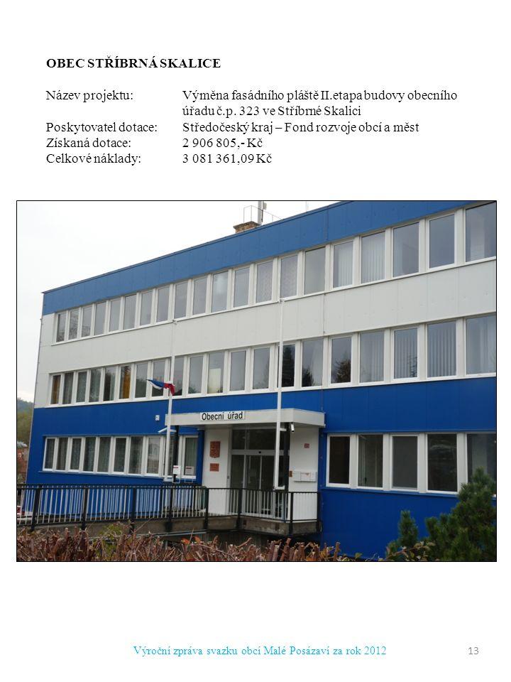Výroční zpráva svazku obcí Malé Posázaví za rok 2012 OBEC STŘÍBRNÁ SKALICE Název projektu:Výměna fasádního pláště II.etapa budovy obecního úřadu č.p.