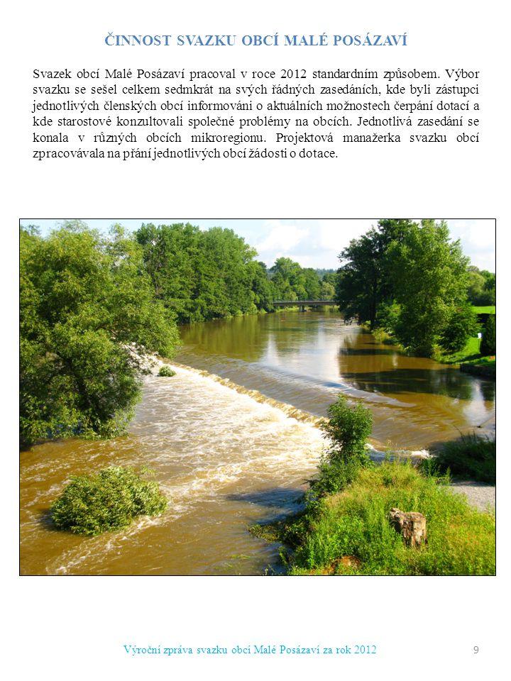 ČINNOST SVAZKU OBCÍ MALÉ POSÁZAVÍ Svazek obcí Malé Posázaví pracoval v roce 2012 standardním způsobem.