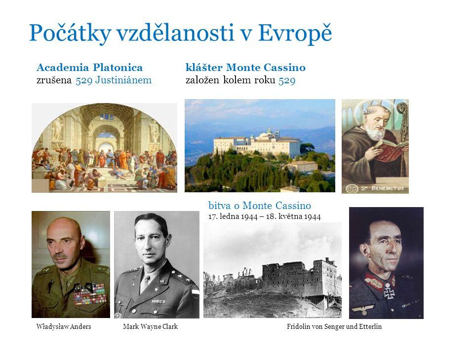 Počátky vzdělanosti v Evropě Academia Platonicaklášter Monte Cassino zrušena 529 Justiniánem založen kolem roku 529 bitva o Monte Cassino 17.