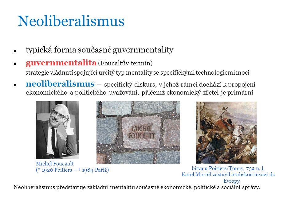 Neoliberalismus typická forma současné guvernmentality guvernmentalita (Foucaltův termín) strategie vládnutí spojující určitý typ mentality se specifickými technologiemi moci neoliberalismus – specifický diskurs, v jehož rámci dochází k propojení ekonomického a politického uvažování, přičemž ekonomický zřetel je primární Neoliberalismus představuje základní mentalitu současné ekonomické, politické a sociální správy.