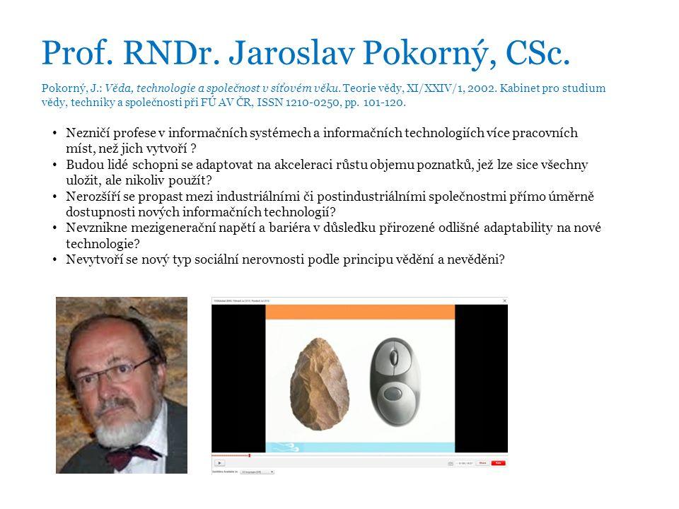 Prof. RNDr. Jaroslav Pokorný, CSc. Pokorný, J.: Věda, technologie a společnost v síťovém věku.