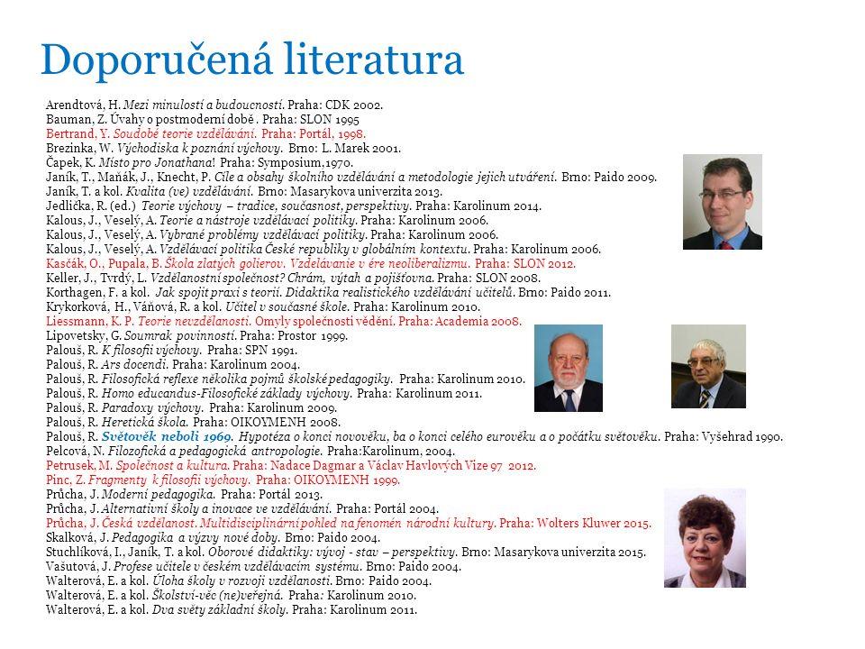 Doporučená literatura Arendtová, H. Mezi minulostí a budoucností.