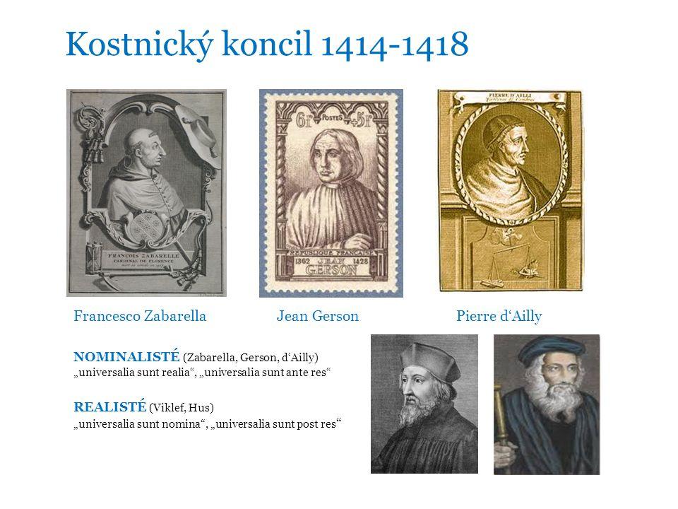 "Kostnický koncil 1414-1418 Francesco ZabarellaJean Gerson Pierre d'Ailly NOMINALISTÉ (Zabarella, Gerson, d'Ailly) ""universalia sunt realia , ""universalia sunt ante res REALISTÉ (Viklef, Hus) ""universalia sunt nomina , ""universalia sunt post res"
