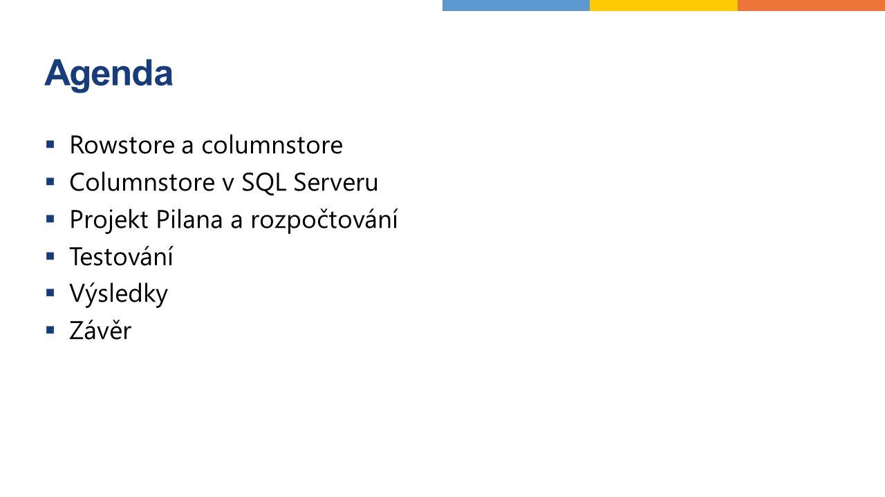 Projekt Pilana ▪ Enterprise DW/BI projekt na MS platformě pro výrobní společnost ▪ Integruje více datových zdrojů ▪ Obsahuje datový sklad, OLAP databázi a prezentační vrstvu  Součástí nástroje pro pokročilý controlling s odchylkovou analýzou napříč celou organizací ▪ Vyžaduje detailní rozpočtování ▪ Generuje velké množství dat  Původně na SQL Serveru 2012 Standard ▪ Omezené možnosti škálování