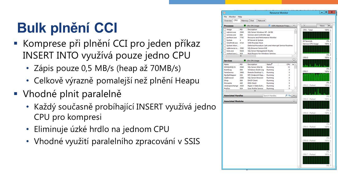 Bulk plnění CCI  Komprese při plnění CCI pro jeden příkaz INSERT INTO využívá pouze jedno CPU Zápis pouze 0,5 MB/s (heap až 70MB/s) Celkově výrazně pomalejší než plnění Heapu  Vhodné plnit paralelně Každý současně probíhající INSERT využívá jedno CPU pro kompresi Eliminuje úzké hrdlo na jednom CPU Vhodné využití paralelního zpracování v SSIS