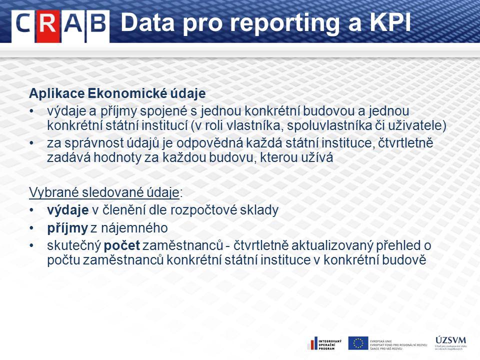 Data pro reporting a KPI Aplikace Ekonomické údaje výdaje a příjmy spojené s jednou konkrétní budovou a jednou konkrétní státní institucí (v roli vlastníka, spoluvlastníka či uživatele) za správnost údajů je odpovědná každá státní instituce, čtvrtletně zadává hodnoty za každou budovu, kterou užívá Vybrané sledované údaje: výdaje v členění dle rozpočtové sklady příjmy z nájemného skutečný počet zaměstnanců - čtvrtletně aktualizovaný přehled o počtu zaměstnanců konkrétní státní instituce v konkrétní budově