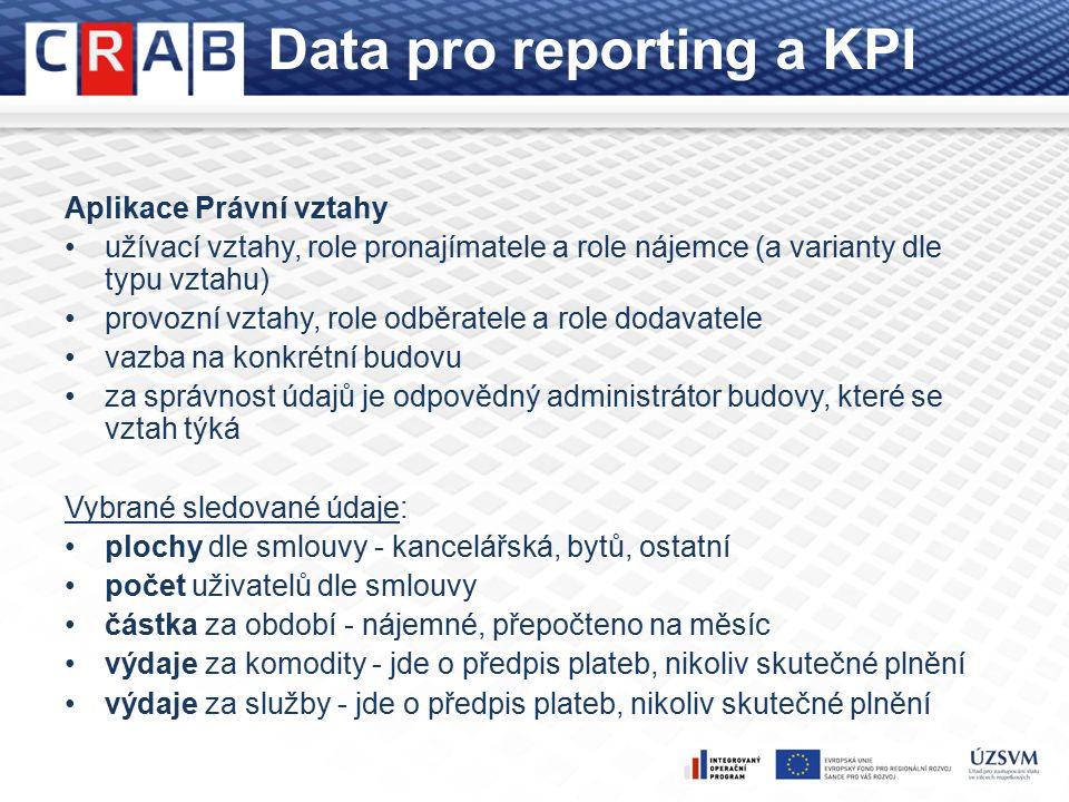 Data pro reporting a KPI Aplikace Právní vztahy užívací vztahy, role pronajímatele a role nájemce (a varianty dle typu vztahu) provozní vztahy, role odběratele a role dodavatele vazba na konkrétní budovu za správnost údajů je odpovědný administrátor budovy, které se vztah týká Vybrané sledované údaje: plochy dle smlouvy - kancelářská, bytů, ostatní počet uživatelů dle smlouvy částka za období - nájemné, přepočteno na měsíc výdaje za komodity - jde o předpis plateb, nikoliv skutečné plnění výdaje za služby - jde o předpis plateb, nikoliv skutečné plnění
