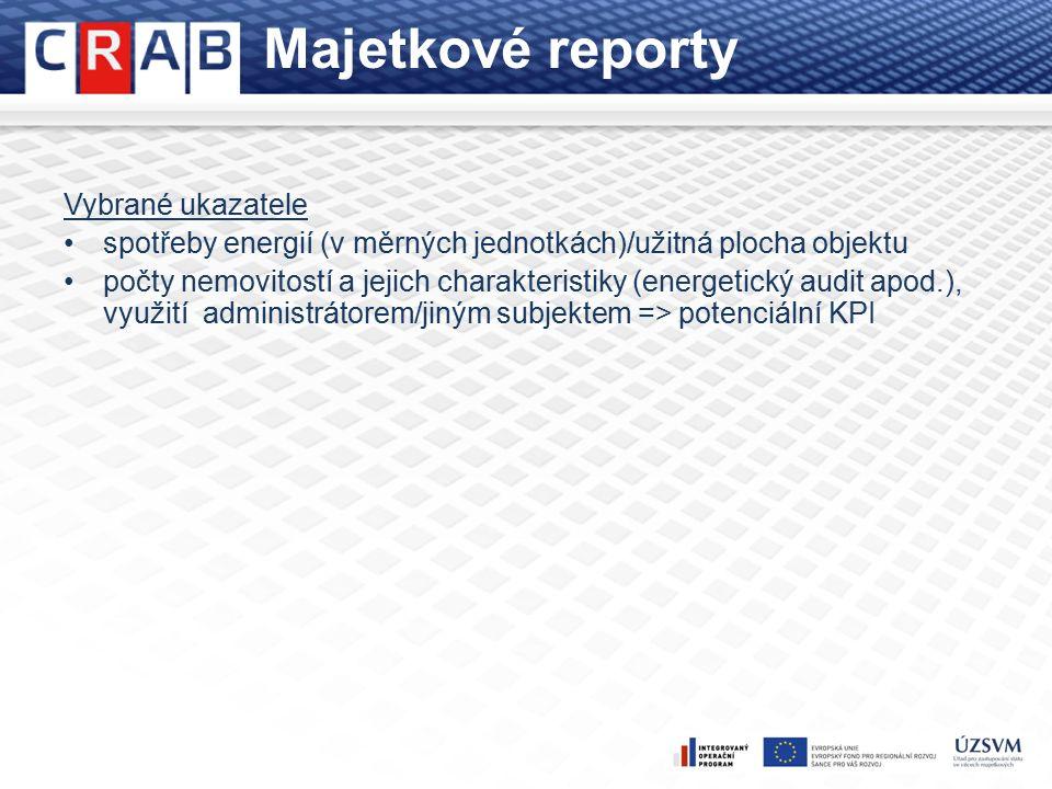 Majetkové reporty Vybrané ukazatele spotřeby energií (v měrných jednotkách)/užitná plocha objektu počty nemovitostí a jejich charakteristiky (energetický audit apod.), využití administrátorem/jiným subjektem => potenciální KPI