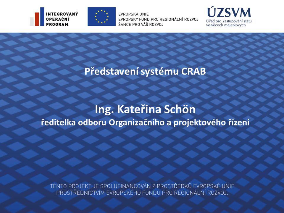 Představení systému CRAB Ing. Kateřina Schön ředitelka odboru Organizačního a projektového řízení