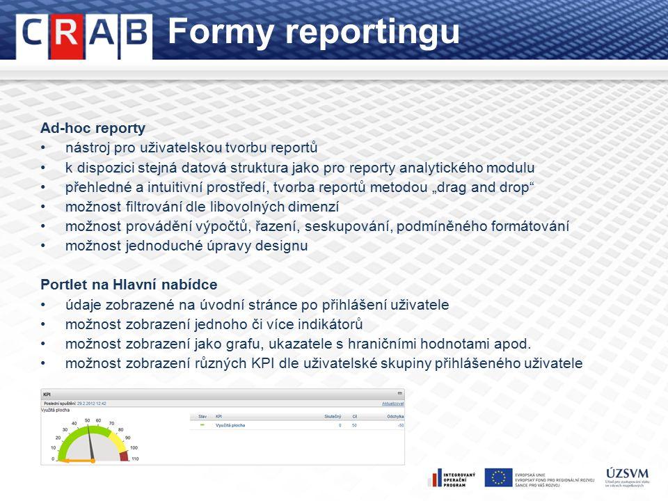 """Formy reportingu Ad-hoc reporty nástroj pro uživatelskou tvorbu reportů k dispozici stejná datová struktura jako pro reporty analytického modulu přehledné a intuitivní prostředí, tvorba reportů metodou """"drag and drop možnost filtrování dle libovolných dimenzí možnost provádění výpočtů, řazení, seskupování, podmíněného formátování možnost jednoduché úpravy designu Portlet na Hlavní nabídce údaje zobrazené na úvodní stránce po přihlášení uživatele možnost zobrazení jednoho či více indikátorů možnost zobrazení jako grafu, ukazatele s hraničními hodnotami apod."""