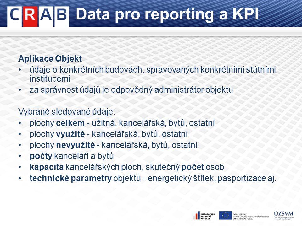 Data pro reporting a KPI Aplikace Objekt údaje o konkrétních budovách, spravovaných konkrétními státními institucemi za správnost údajů je odpovědný administrátor objektu Vybrané sledované údaje: plochy celkem - užitná, kancelářská, bytů, ostatní plochy využité - kancelářská, bytů, ostatní plochy nevyužité - kancelářská, bytů, ostatní počty kanceláří a bytů kapacita kancelářských ploch, skutečný počet osob technické parametry objektů - energetický štítek, pasportizace aj.