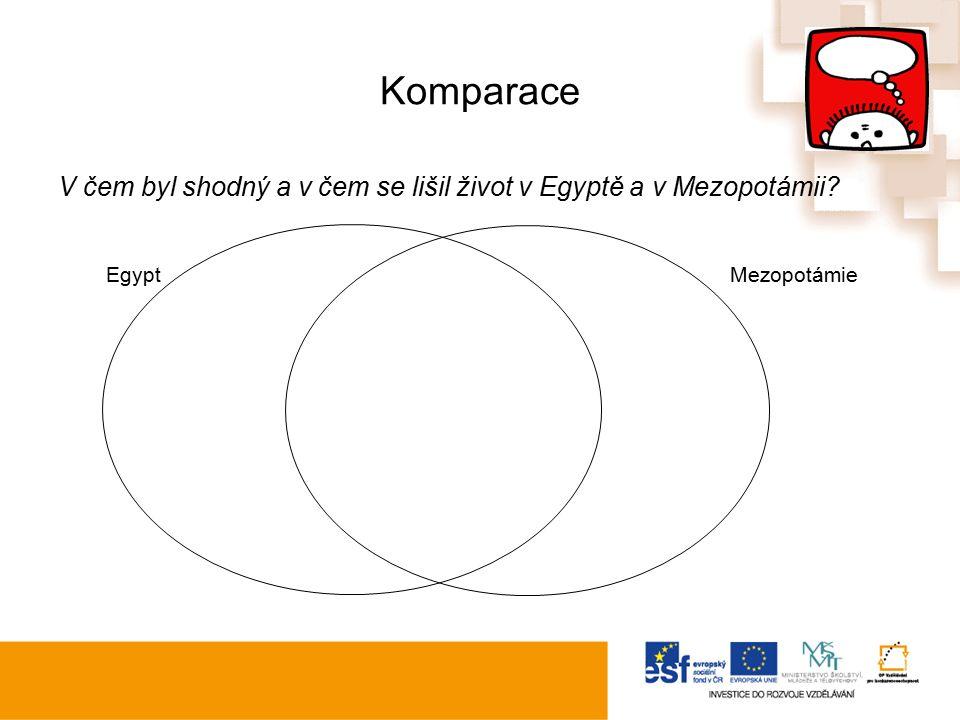 Komparace V čem byl shodný a v čem se lišil život v Egyptě a v Mezopotámii Egypt Mezopotámie