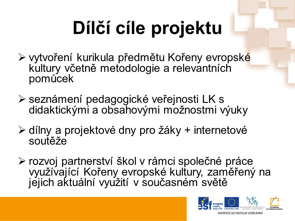 Dílčí cíle projektu  vytvoření kurikula předmětu Kořeny evropské kultury včetně metodologie a relevantních pomůcek  seznámení pedagogické veřejnosti LK s didaktickými a obsahovými možnostmi výuky  dílny a projektové dny pro žáky + internetové soutěže  rozvoj partnerství škol v rámci společné práce využívající Kořeny evropské kultury, zaměřený na jejich aktuální využití v současném světě