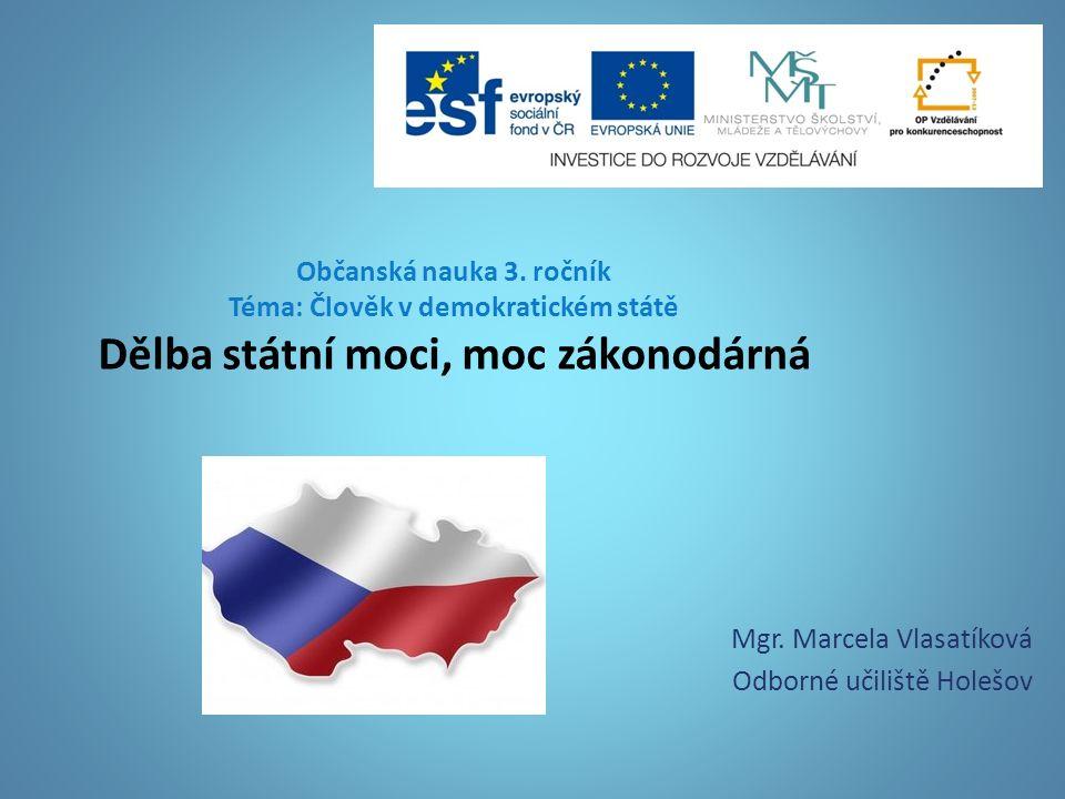 Občanská nauka 3.ročník Téma: Člověk v demokratickém státě Dělba státní moci, moc zákonodárná Mgr.