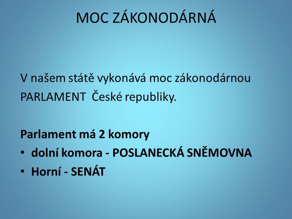 MOC ZÁKONODÁRNÁ V našem státě vykonává moc zákonodárnou PARLAMENT České republiky. Parlament má 2 komory dolní komora - POSLANECKÁ SNĚMOVNA Horní - SE