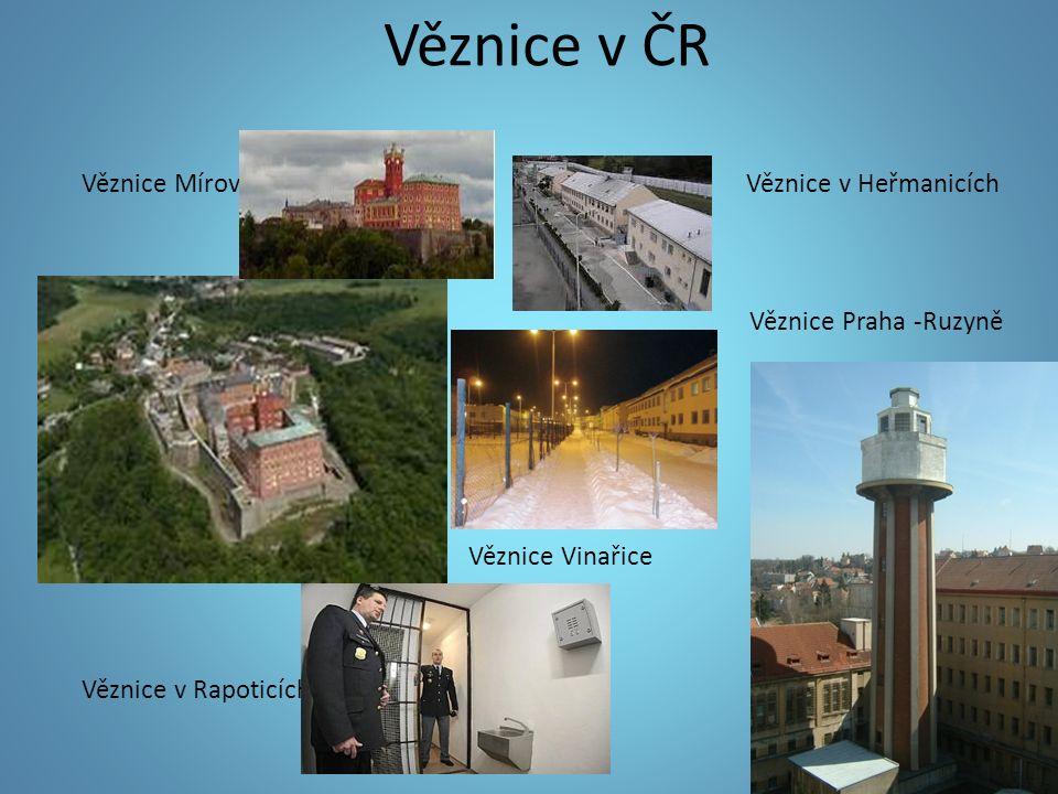 Věznice Mírov Věznice v Heřmanicích Věznice Praha -Ruzyně Věznice Vinařice Věznice v Rapoticích
