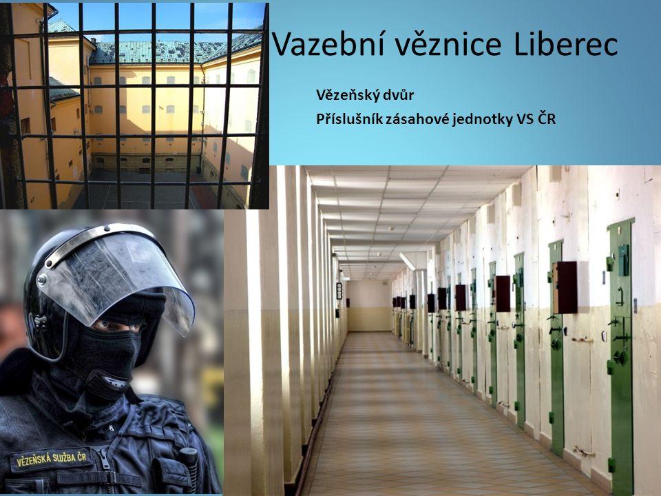 Vazební věznice Liberec Vězeňský dvůr Příslušník zásahové jednotky VS ČR