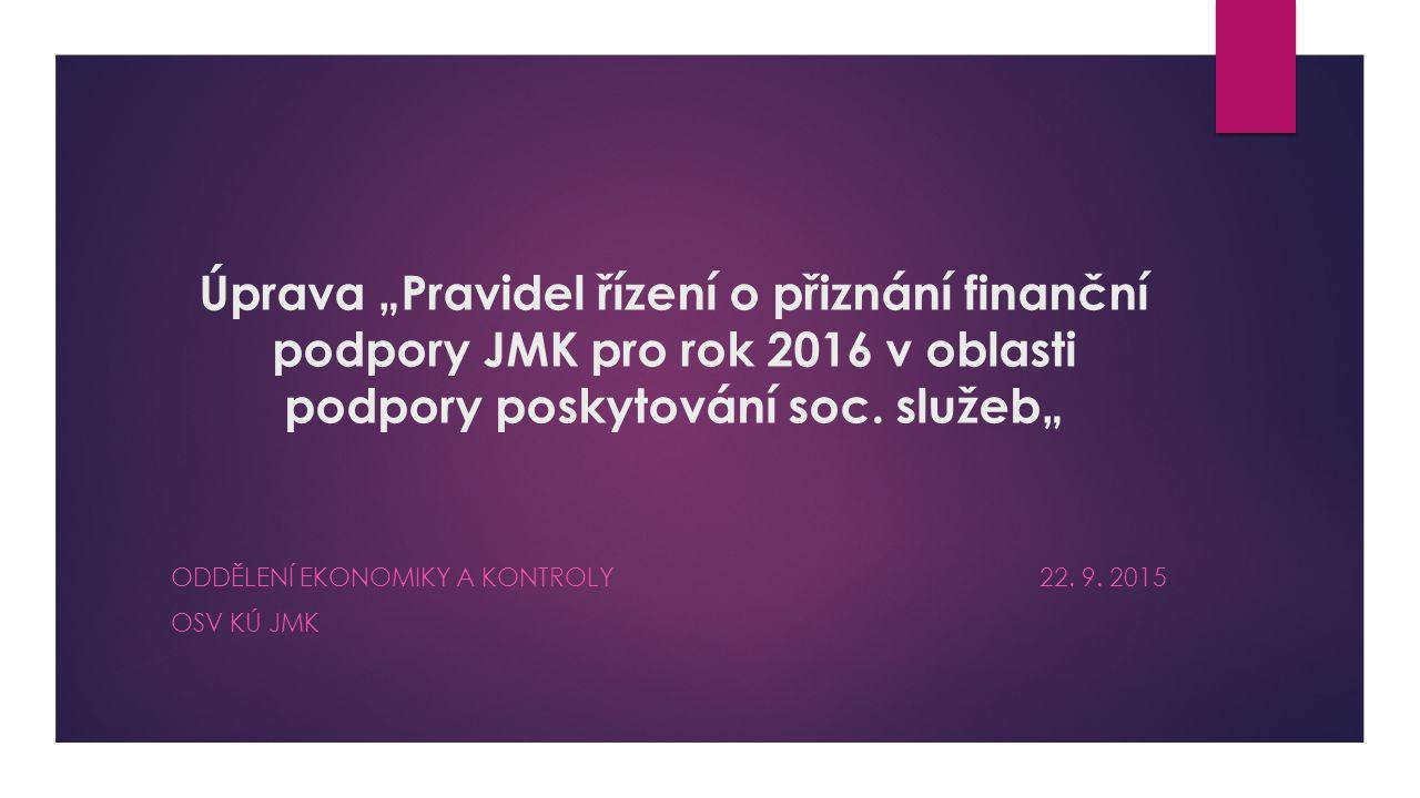 """Úprava """"Pravidel řízení o přiznání finanční podpory JMK pro rok 2016 v oblasti podpory poskytování soc. služeb"""" ODDĚLENÍ EKONOMIKY A KONTROLY 22. 9. 2"""