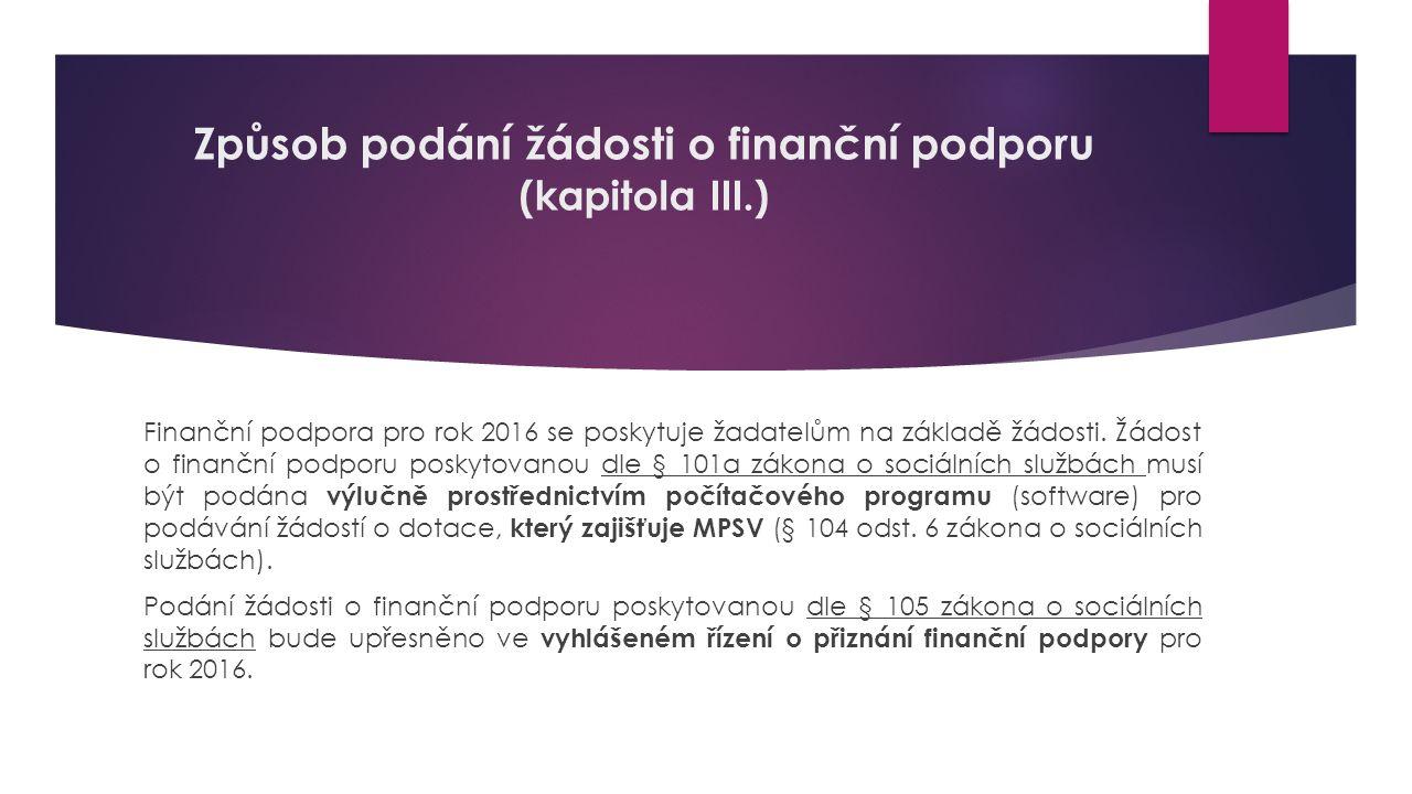 Způsob podání žádosti o finanční podporu (kapitola III.) Finanční podpora pro rok 2016 se poskytuje žadatelům na základě žádosti. Žádost o finanční po