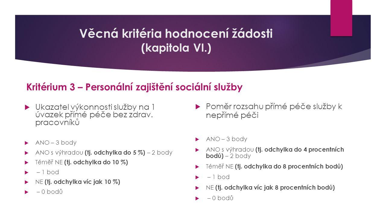 Věcná kritéria hodnocení žádosti (kapitola VI.) Kritérium 3 – Personální zajištění sociální služby  Ukazatel výkonnosti služby na 1 úvazek přímé péče bez zdrav.