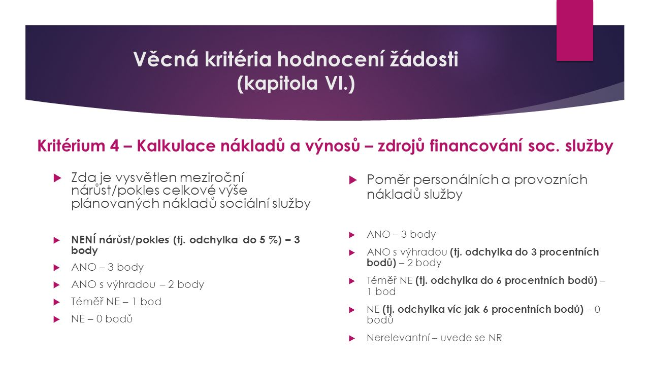 Věcná kritéria hodnocení žádosti (kapitola VI.) Kritérium 4 – Kalkulace nákladů a výnosů – zdrojů financování soc. služby  Zda je vysvětlen meziroční
