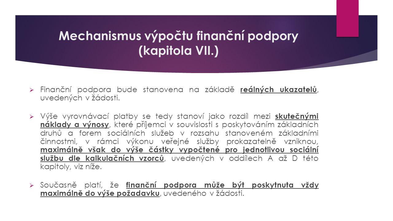 Mechanismus výpočtu finanční podpory (kapitola VII.)  Finanční podpora bude stanovena na základě reálných ukazatelů, uvedených v žádosti.  Výše vyro