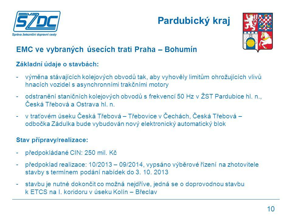 Pardubický kraj EMC ve vybraných úsecích trati Praha – Bohumín Základní údaje o stavbách: -výměna stávajících kolejových obvodů tak, aby vyhověly limitům ohrožujících vlivů hnacích vozidel s asynchronními trakčními motory -odstranění staničních kolejových obvodů s frekvencí 50 Hz v ŽST Pardubice hl.