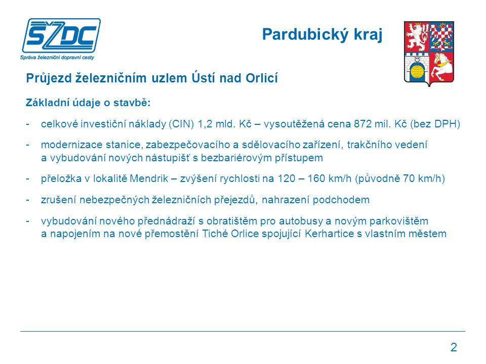 Pardubický kraj Průjezd železničním uzlem Ústí nad Orlicí Základní údaje o stavbě: -celkové investiční náklady (CIN) 1,2 mld.