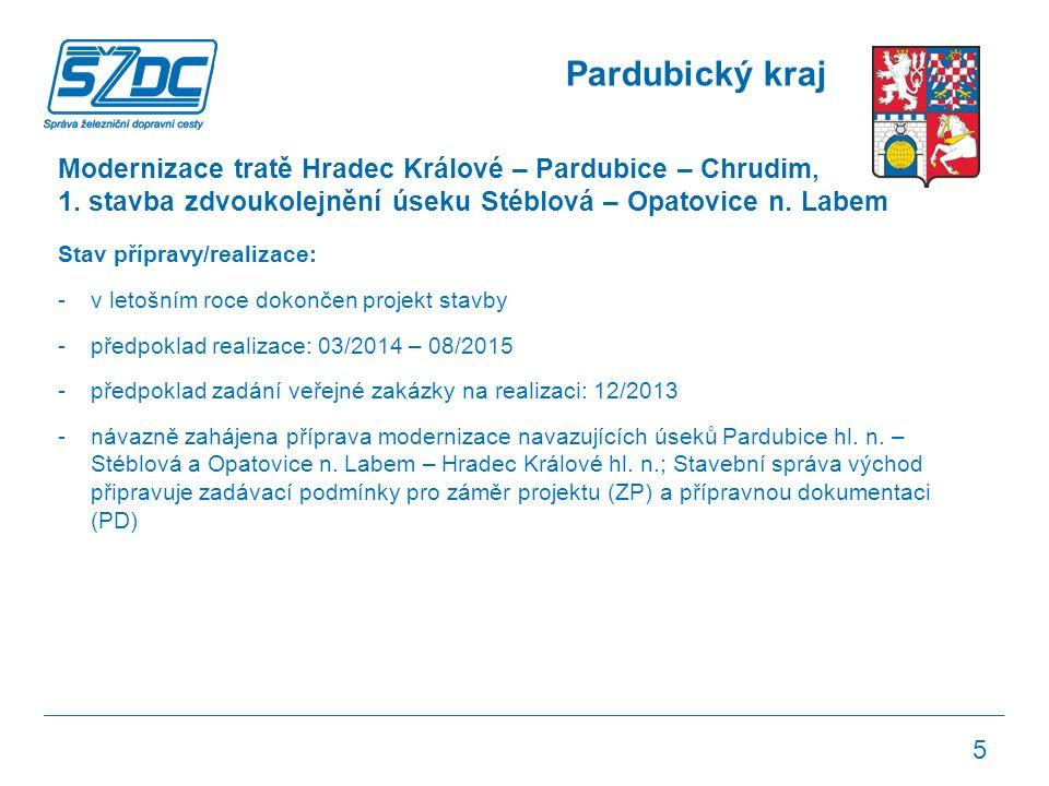 Pardubický kraj Modernizace tratě Hradec Králové – Pardubice – Chrudim, 1.