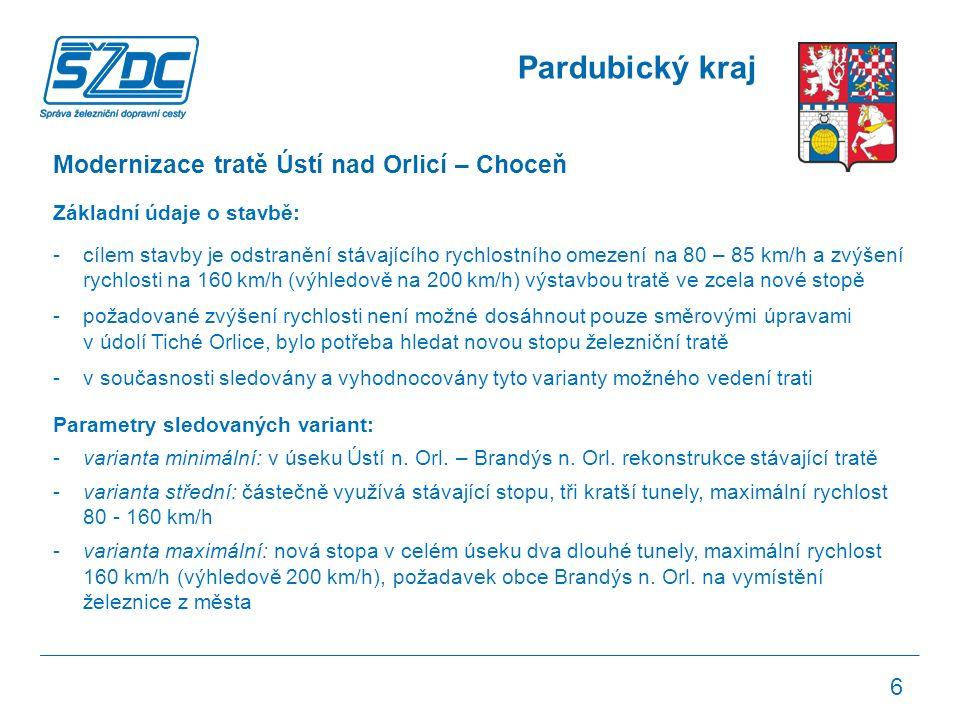 Pardubický kraj Modernizace tratě Ústí nad Orlicí – Choceň Základní údaje o stavbě: -cílem stavby je odstranění stávajícího rychlostního omezení na 80 – 85 km/h a zvýšení rychlosti na 160 km/h (výhledově na 200 km/h) výstavbou tratě ve zcela nové stopě -požadované zvýšení rychlosti není možné dosáhnout pouze směrovými úpravami v údolí Tiché Orlice, bylo potřeba hledat novou stopu železniční tratě -v současnosti sledovány a vyhodnocovány tyto varianty možného vedení trati Parametry sledovaných variant: -varianta minimální: v úseku Ústí n.