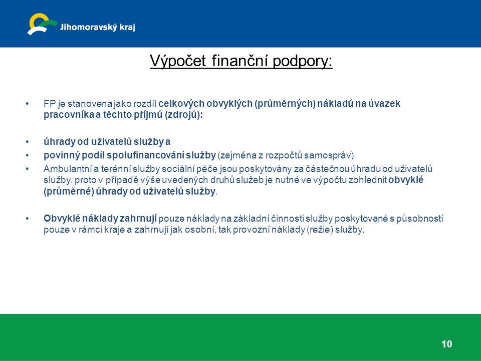 Výpočet finanční podpory: FP je stanovena jako rozdíl celkových obvyklých (průměrných) nákladů na úvazek pracovníka a těchto příjmů (zdrojů): úhrady od uživatelů služby a povinný podíl spolufinancování služby (zejména z rozpočtů samospráv).