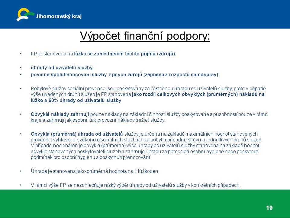 Výpočet finanční podpory: FP je stanovena na lůžko se zohledněním těchto příjmů (zdrojů): úhrady od uživatelů služby, povinné spolufinancování služby z jiných zdrojů (zejména z rozpočtů samospráv).